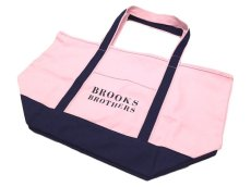 画像1: Brooks Brothers CANVAS TOTE BAG【PALE PINK/NAVY】 (1)